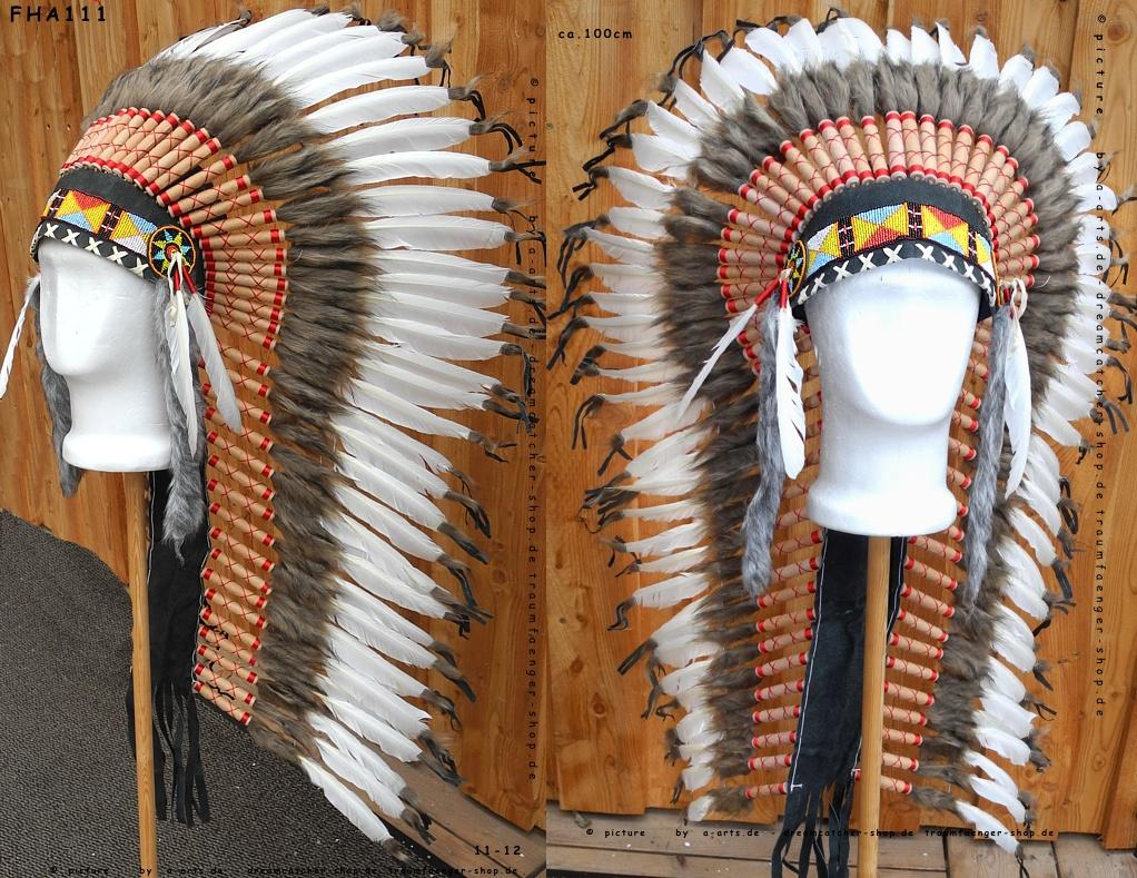 indianer federhaube langer echter kopfschmuck 100cm. Black Bedroom Furniture Sets. Home Design Ideas